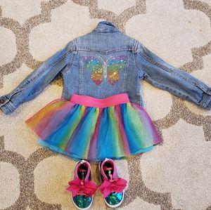 Denim JACKET Rainbow 🌈 Rhinestones Butterfly
